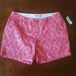 Old Navy Orange and White Star Chino Shorts, NWT